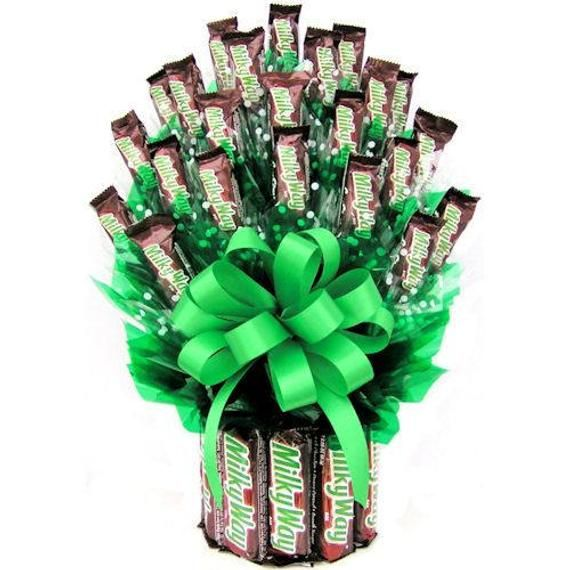 Chocolate Gift Candy Arrangement Milky Way Candies Ship Same Day In 2021 Candy Arrangements Candy Gifts Candy Bar Bouquet