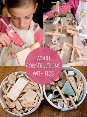 Holzbauprojekt für Kinder mit Holzresten und einer Klebepistole – Stunden …