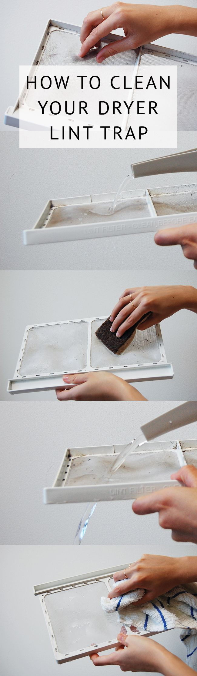 Easy dryer lint trap cleaning how-to - clean regularly to avoid a fire hazard! via @acleanbee