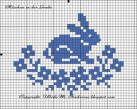 Häschen in der Grube, free chart by Ulrike M. Bunny in flowers cross stitch