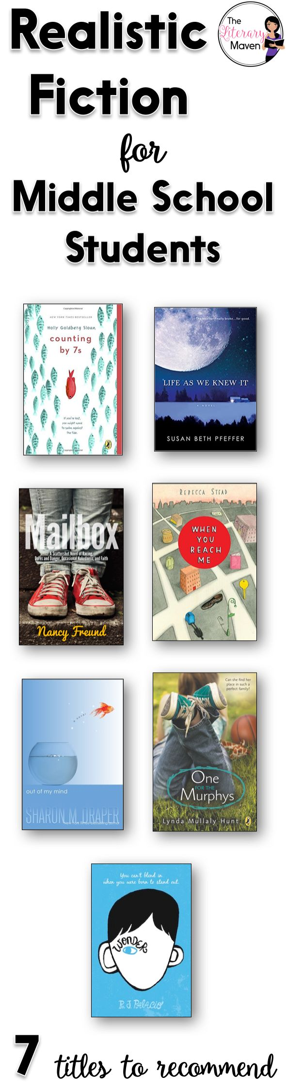 Teachers' lives are hectic, and though many of us love to read, we don't always have the time to do it, which can make it tough to make recommendations to students or to select titles for our classroom library. Here's 7 realistic fiction titles that I've recently read and would recommend to middle school students.