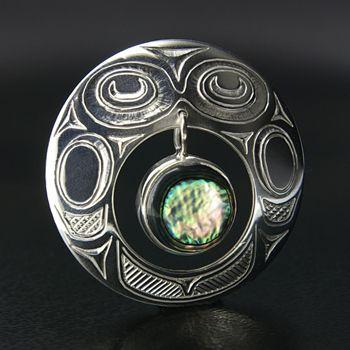 Barry Wilson Silver Bird Spirit Pendant with Abalone, Northwest Coast Native Art