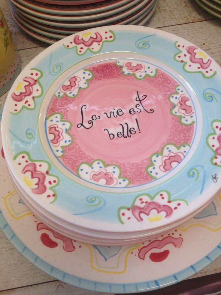 """Ontbijtbordje """"La vie est belle"""" by Jet ter Steege €8,50"""