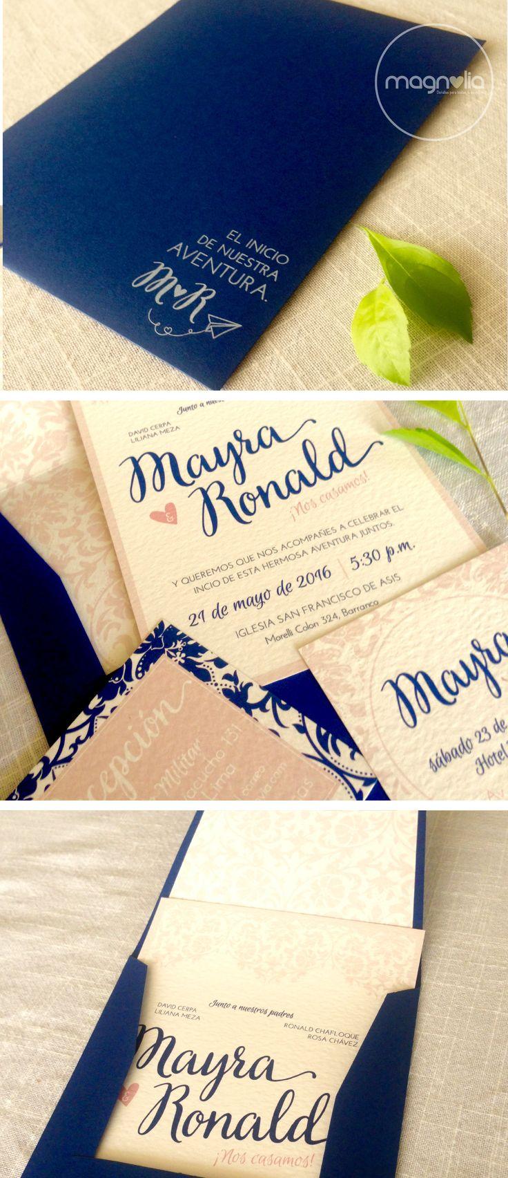 Invitaciones de boda en rose quarze & azul ¡bellas!  #rosequarze #invitacionesdeboda #vintage #azul #