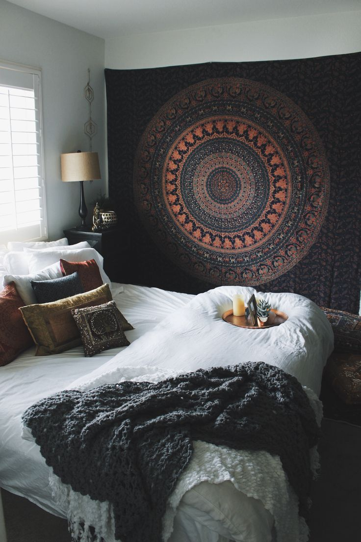 Bohemian Bedroom Inspiration✨Untamed Tapestry from Lady Scorpio☽ ✩ Save 25% off all orders with code PINTERESTXO at checkout | Bohemian Tapestry Boho Pillow Case Hex Perspective Wall Decor by Lady Scorpio | Shop Now LadyScorpio101.com | Interior Design by Kaitlyn Johnson @kaitlynjohnsondesign | @LadyScorpio101                                                                                                                                                                                 More