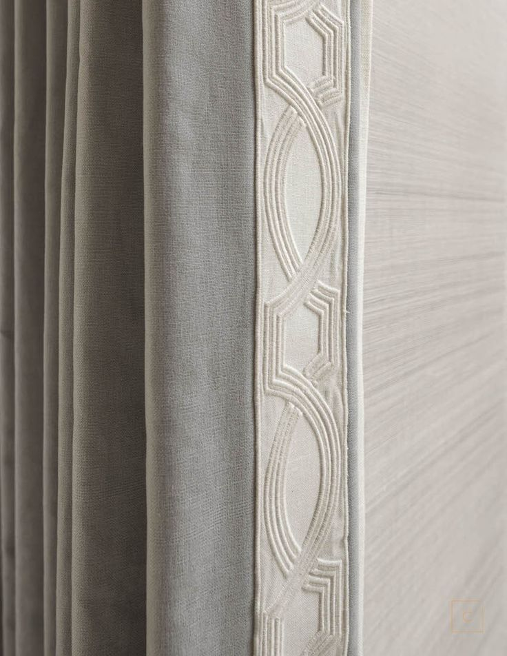 details & textures - Collins Interiors | love this Samuel and Sons trim on the fronts of the drapes.
