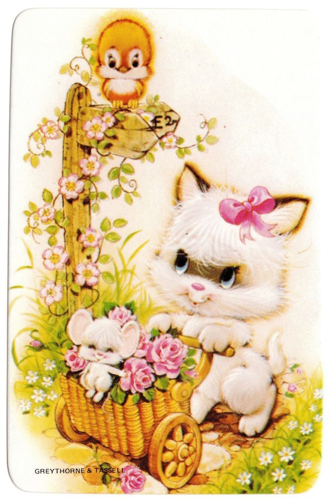 vintage SWAP CARDs 1970s blank back CUTE CATS KITTENs mouse & love bird in roses