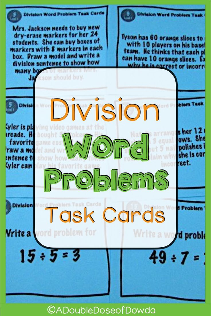 Division Word Problems Task Cards In 2020 Division Word Problems Word Problems Word Problems Task Cards