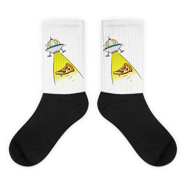 UFO Pizza Abduction - Black Foot Socks For Sci Fi Lovers