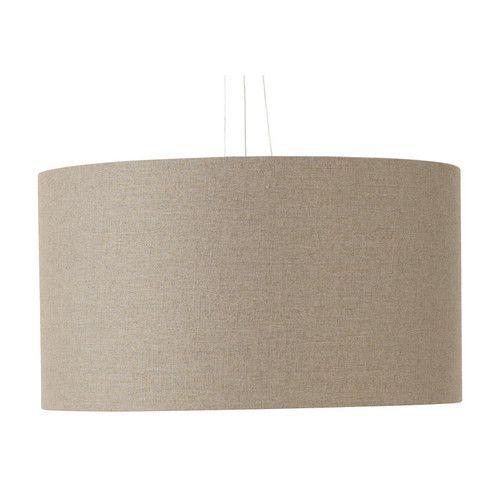 Lampada a sospensione color talpa a tamburo in tessuto D 60 cm HAVANE