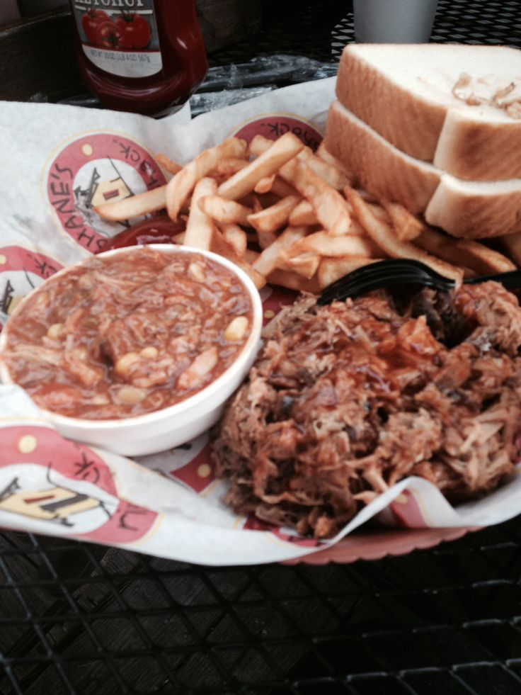 Shane's Rib Shack in McDonough, Ga. The original location. Great food and service. Hand-pulled pork platter with Brunswick stew.