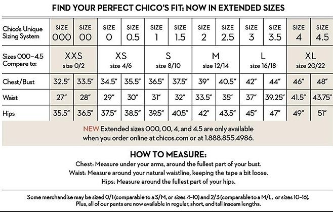 Chicos Chart Size For Women Sizing Information
