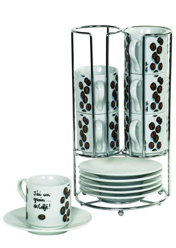 Rack de 6 tasses J'ai un grain de café !