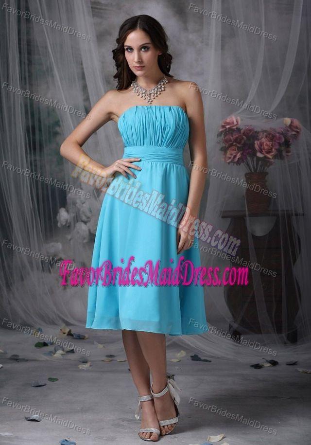Exclusive Strapless Ruched Aqua Blue Bridemaid Dress in Chiffon under 100