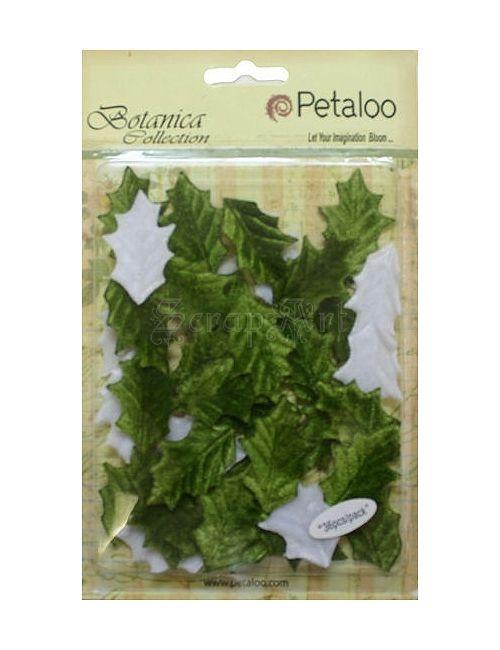 lístečky dekorační - Vintage Velvet Holly Leaves Petaloo International