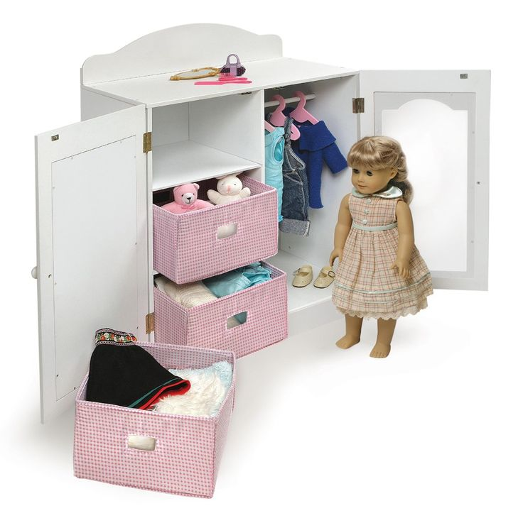 Our new, extra-large Armoire is the place to store your most treasured doll accessories! Open one door to reveal three, handy baskets. Behind the other door you'll find a rod with three hangers ready for prized garments and gowns. Child-safe mirror on the front lets your doll check her appearance before heading out to play! Plexiglass door panel lets you easily see what is hanging on the clothes rod inside. Top shelf offers an additional place to perch small items like Dolly's comb, b...