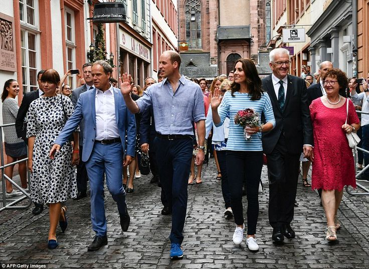 The couple were accompanied through the historic centre of Heidelberg, with Baden-Wuerttem...