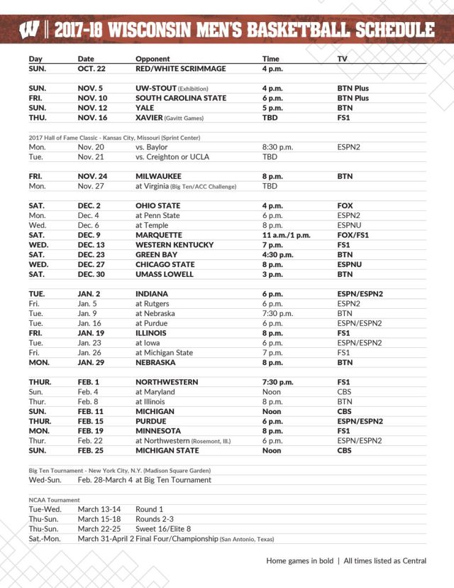 Wisconsin basketball dropped its entire 2017-2018 schedule, complete with TV and tip off times, and all Badgers fans should take note.