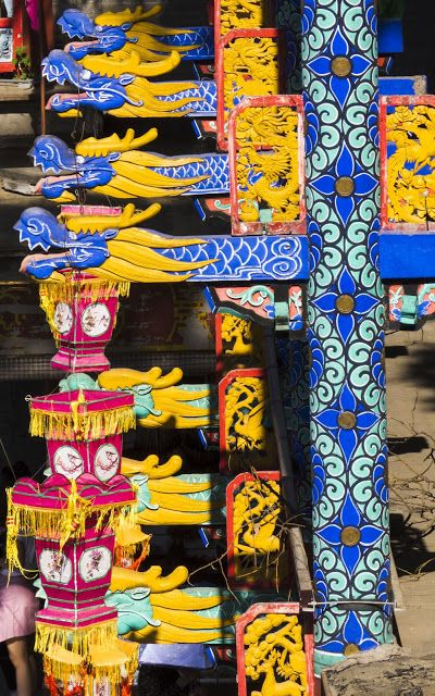 Dragon pillars on Suzhou Market Street at the Summer Palace in Beijing China