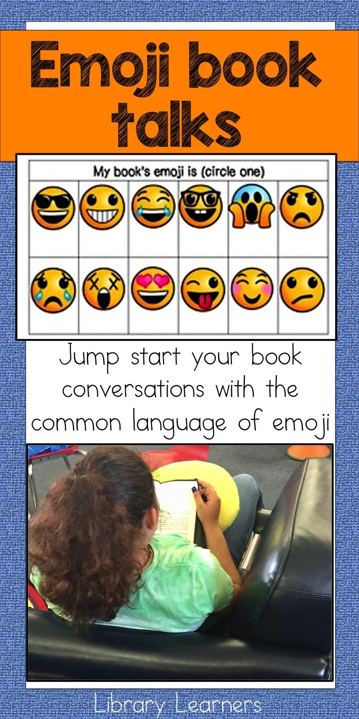 We use emojis to start book conversations in the library, classroom, or morning announcements. This common language engages students and energizes our discussions around books they might like to read. Click for more info!