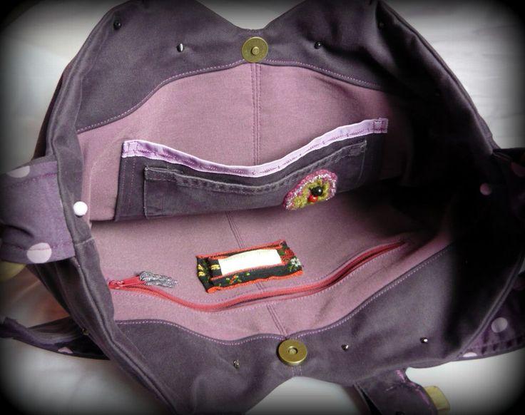 Lila pöttyös táska -Handmade by Judy Majoros