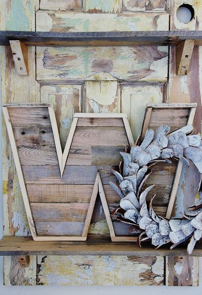 how to make a wood pallet letter, diy, how to, pallet, woodworking projects, Here s the finished pallet wood letter I have it displayed on an door with a birch bark wreath