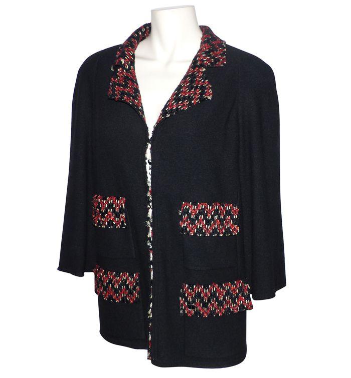 depot vente de luxe en ligne chanel veste noire laine cachemire et tweed corail | TendanceShopping.com