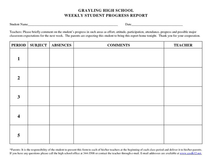 progress report template for high school students - Google Search