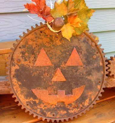 DIY Rusty gear pumpkin - upcycled fall decor // Őszi tök dekoráció rozsdás fogaskerékből - újrahasznosítás // Mindy - craft tutorial collection // #crafts #DIY #craftTutorial #tutorial #UpcyclingCraft  #TinCanCraft #Upcycling #RecyclingCraft