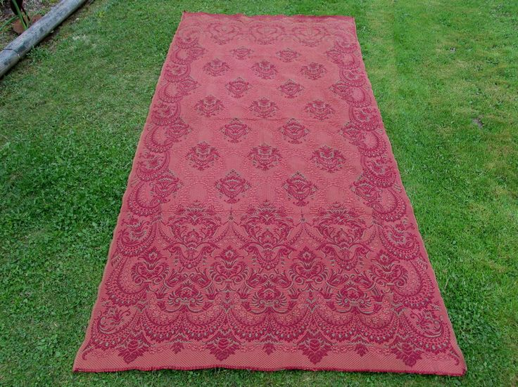Antique c1880s Victorian Tapestry Portiere Drape, Curtain Panel