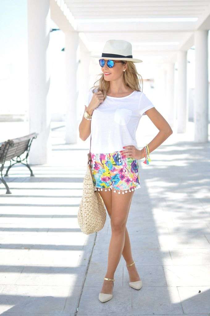 colorful pom pom shorts with white top 2017 and hat