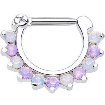 "14 Gauge 5/16"" Alluring Faux Opal and Light Purple Gem Septum Clicker"