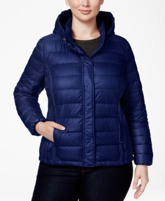 32 Degrees Plus Size Hooded Packable Down Puffer Coat | macys.com