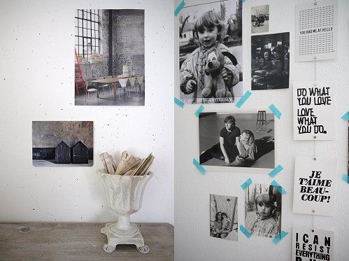 pared: Washi Color, Decor Ideas, Deco Ideas, Interior Ideas, Washi Tape, Black White Photos, Wall Photos