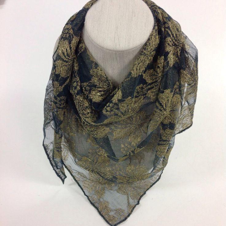 Olive Green Gold floral design Fancy Lace Bandana headscarf by BlingScarves on Etsy https://www.etsy.com/listing/243612496/olive-green-gold-floral-design-fancy