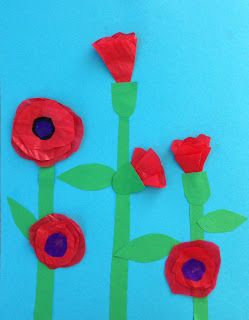 """Art Projects for Kids: Buds & Blooms Tissue Paper Flowers based on Lois Elhert's book """"Planting a Rainbow"""" or could be Poppies for ANZAC or Remberance day"""