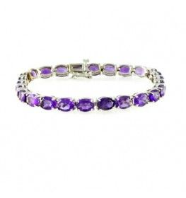 Amethyst Tennis Bracelet In 14k White Gold