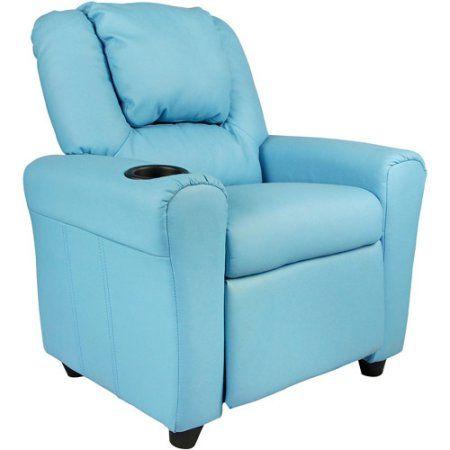Flash Furniture Kids' Vinyl Recliner with Cupholder and Headrest, Multiple Colors, Blue