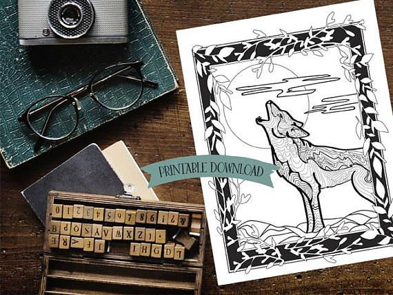 Coloring Page - North American Coyote Howling at the Moon // INSTANT DOWNLOAD // Manifestation and Meditation Colouring Page