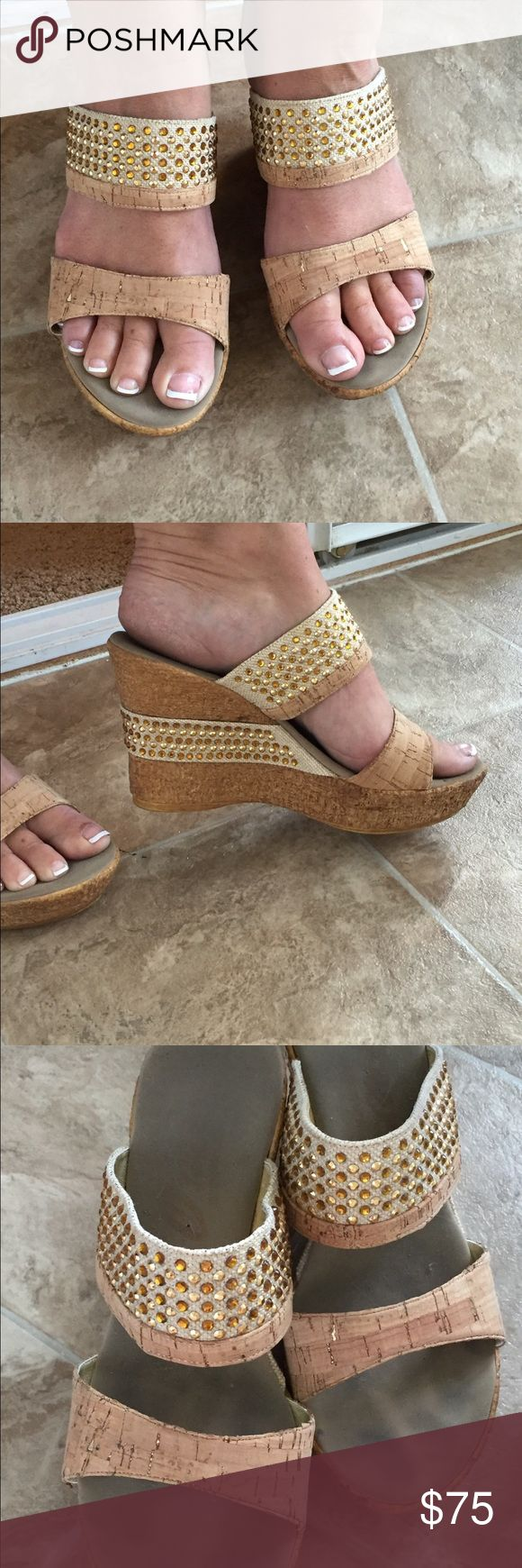 Onex Tan wedges Super cute tan wedges! In good condition but have been worn. Onex Shoes Wedges