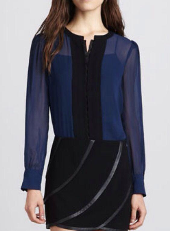 DVF Etta-long sleeve chiffon color block blouse 2013