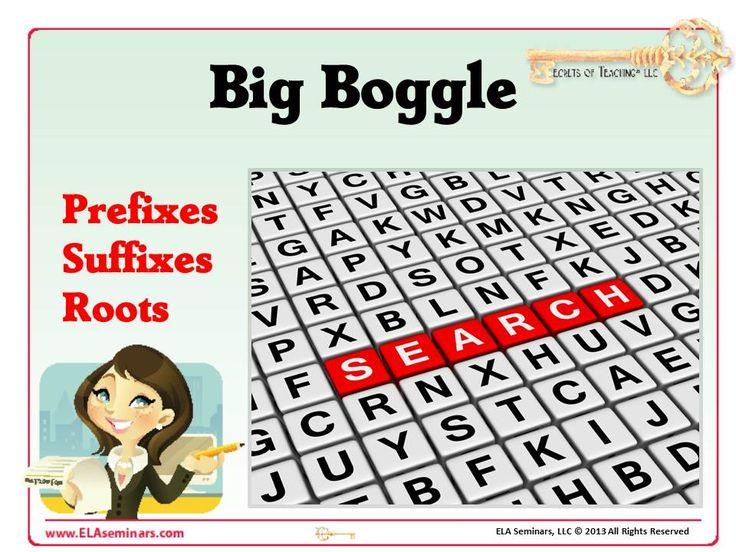 BIG BOGGLE: PREFIX, ROOT and SUFFIX REVIEW: Give students an interesting way to review their prefixes, roots and suffixes as they play this classroom version of Big Boggle. Players get five minutes to find and log words containing four letters or more.  When time is called, the four bonus point words will be revealed. Players who located any or all of those words receive 10 points for each word.  Note: All bonus words will contain prefixes, roots, or suffixes. (priced item)