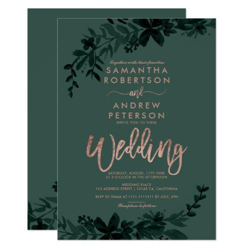 Rose Gold Typography Floral Green Wedding Card Rose Gold Wedding