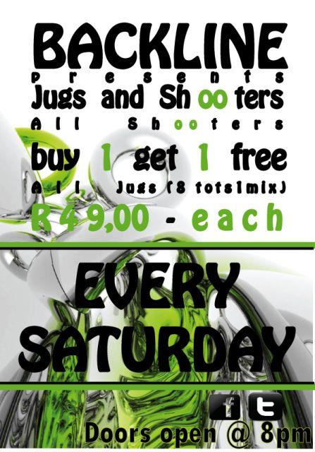 """Jugs & Shots"" Party @ Backline | South Coast Live R49.00 jugs & ""buy 1 get 1 free"" shots"