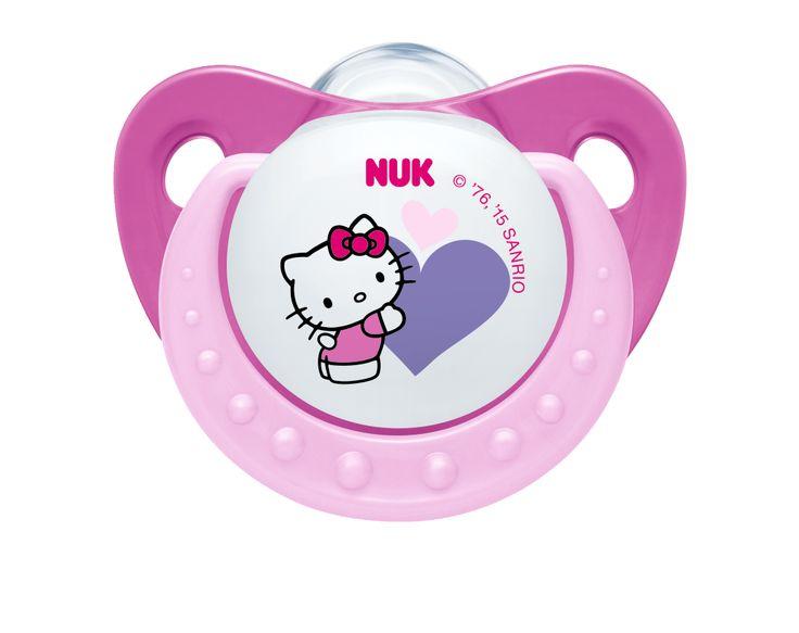 Chupeta NUK Trendline Hello Kitty em silicone com anel, disponível no tamanho 1 e 2. www.nuk.pt