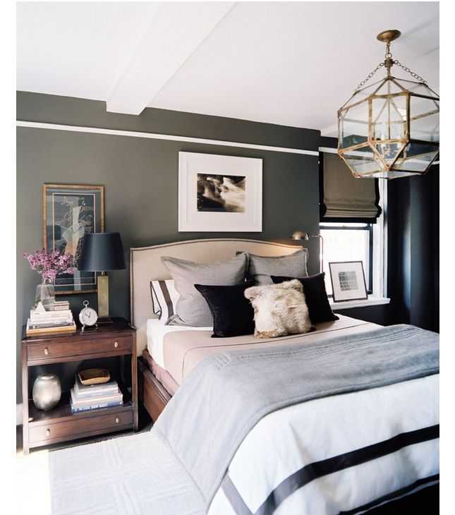 Master Bedroom decor idea. Like the wall color, nightstand, roman shades