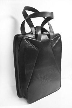 huge black leather bag by lillme
