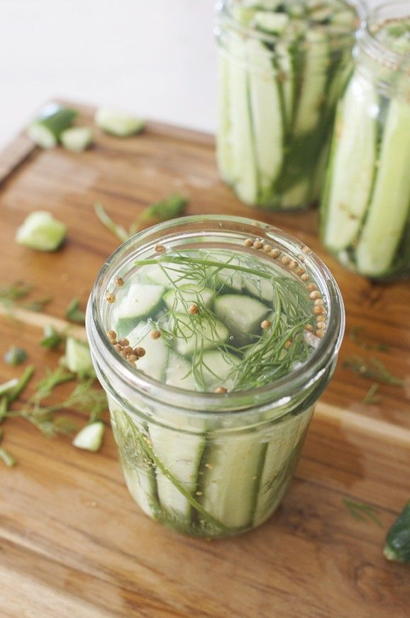 Quick Refrigerator Dill Pickles: (makes 3 pint jars) 2 pounds of pickling cucumbers or persian cucumbers 1 1/2 cups white vinegar or appl...