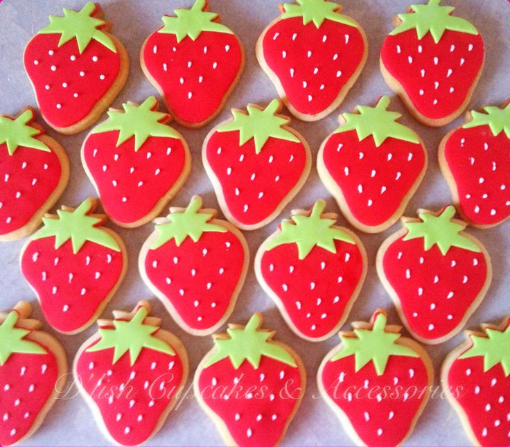 Strawberry cookies. Strawberry cookie cutter available at www.dlishcookies.com