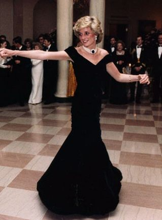 Princess Diana in the beautiful black velvet gown, later called the 'Travolta Dress'...
